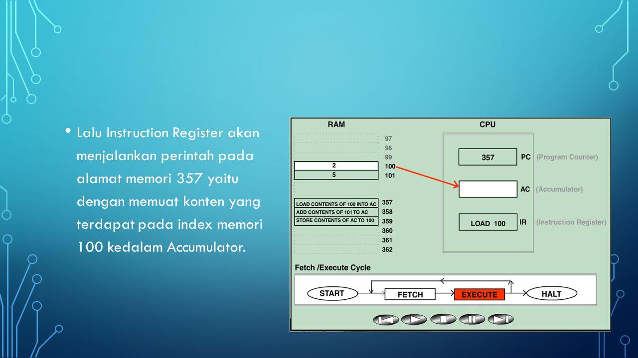Setelah proses pertama dilaksanakan dan Instruction Register telah siap untuk menerima pengerjaan eksekusi, maka Control Unit akan kembali mengambil instruksi berikutnya yaitu memori RAM 358 dan ditampungkan ke Instruction Register, sedangkan alamat memori 358 yang berisikan perintah ditampung di Program Counter.