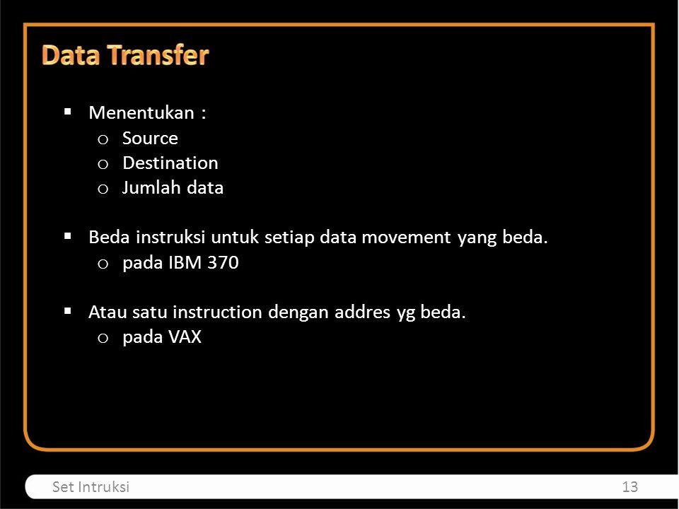  Menentukan : o Source o Destination o Jumlah data  Beda instruksi untuk setiap data movement yang beda.