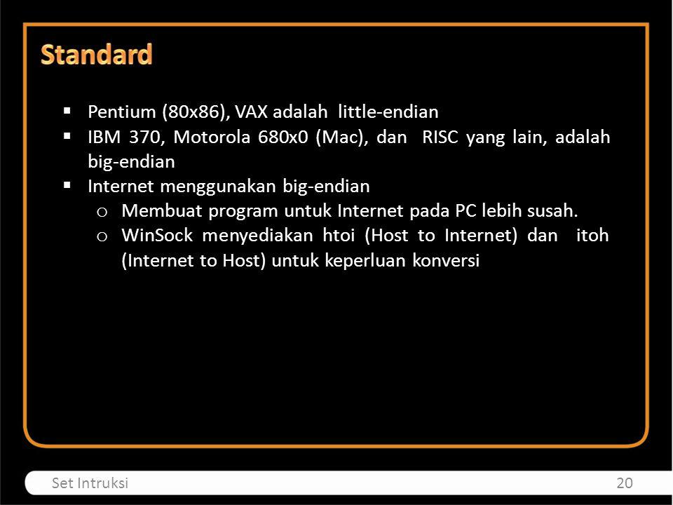 Pentium (80x86), VAX adalah little-endian  IBM 370, Motorola 680x0 (Mac), dan RISC yang lain, adalah big-endian  Internet menggunakan big-endian o Membuat program untuk Internet pada PC lebih susah.