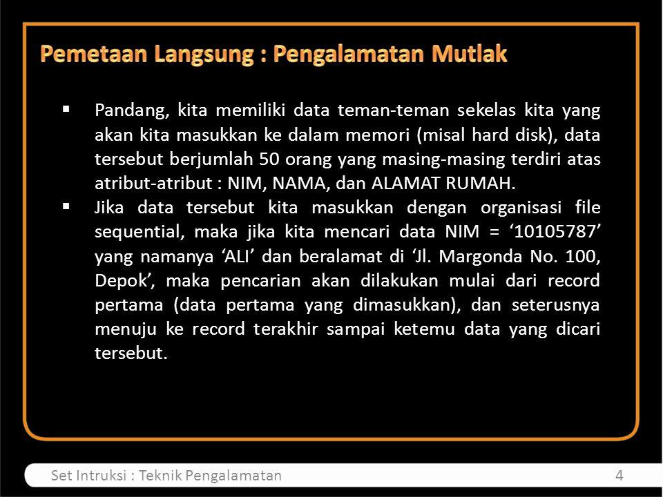  Pandang, kita memiliki data teman-teman sekelas kita yang akan kita masukkan ke dalam memori (misal hard disk), data tersebut berjumlah 50 orang yang masing-masing terdiri atas atribut-atribut : NIM, NAMA, dan ALAMAT RUMAH.