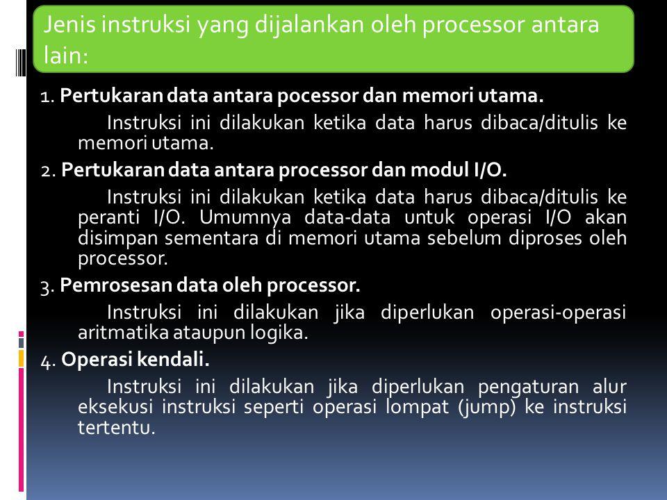 1. Pertukaran data antara pocessor dan memori utama. Instruksi ini dilakukan ketika data harus dibaca/ditulis ke memori utama. 2. Pertukaran data anta