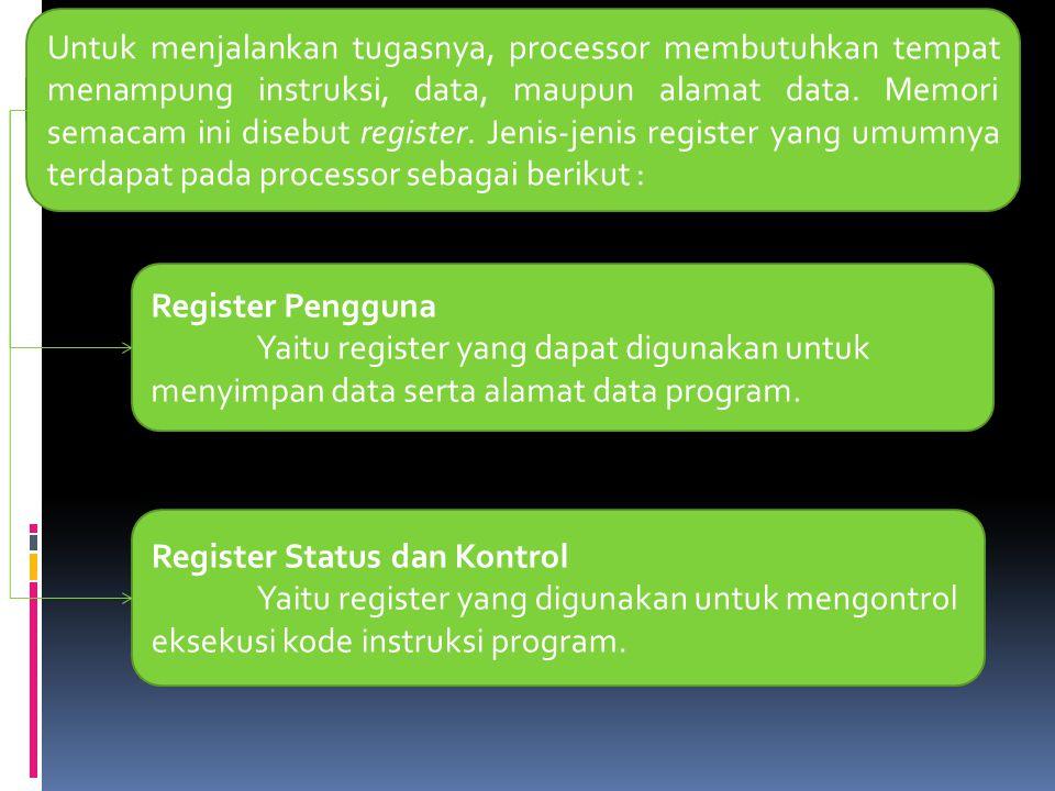 Untuk menjalankan tugasnya, processor membutuhkan tempat menampung instruksi, data, maupun alamat data. Memori semacam ini disebut register. Jenis-jen
