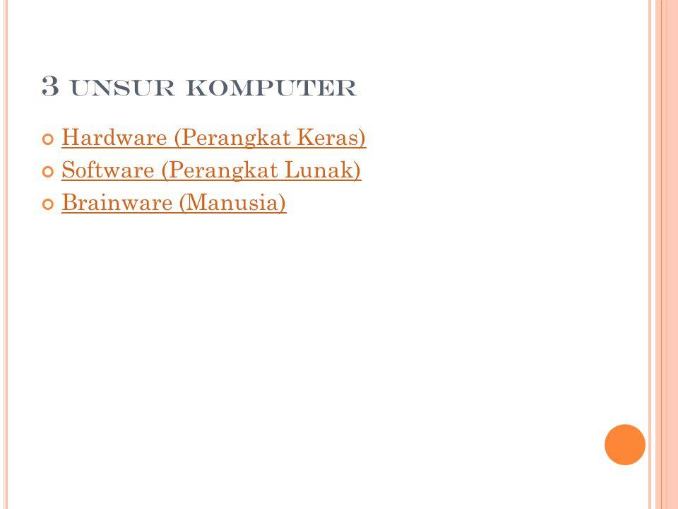3 UNSUR KOMPUTER Hardware (Perangkat Keras) Software (Perangkat Lunak) Brainware (Manusia)