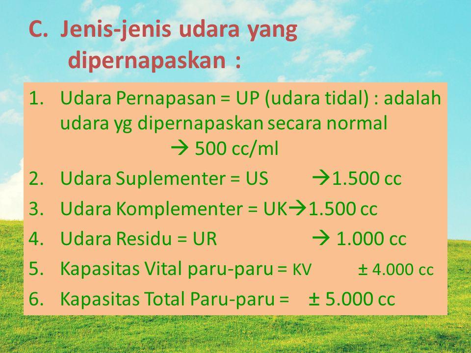 C. Jenis-jenis udara yang dipernapaskan : 1.Udara Pernapasan = UP (udara tidal) : adalah udara yg dipernapaskan secara normal  500 cc/ml 2.Udara Supl