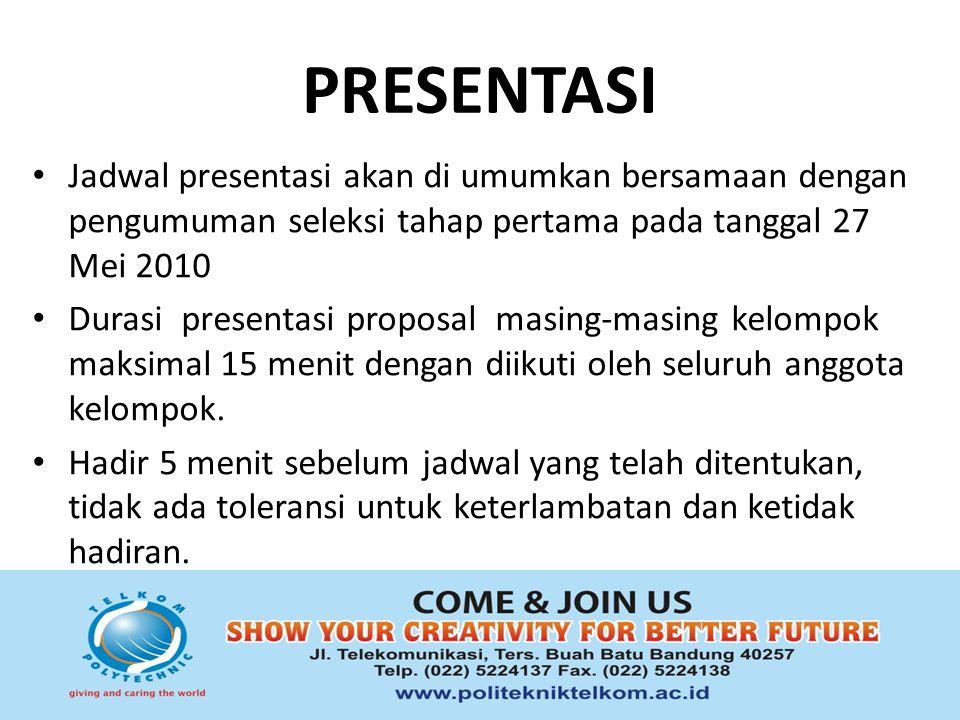 PEMENANG Pemenang Students Creativity Contest 2010 akan diumumkan bersamaan dengan ceremonial pada tanggal 10 Juni 2010