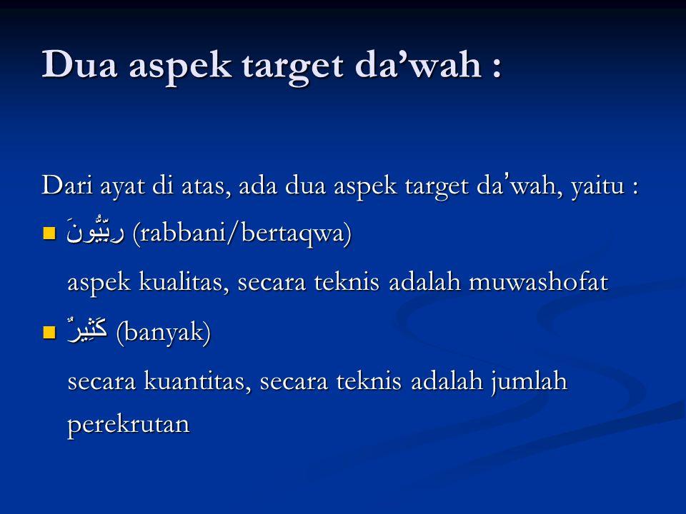 Dua aspek target da'wah : Dari ayat di atas, ada dua aspek target da ' wah, yaitu : رِبِّيُّونَ (rabbani/bertaqwa) رِبِّيُّونَ (rabbani/bertaqwa) aspek kualitas, secara teknis adalah muwashofat كَثِيرٌ (banyak) كَثِيرٌ (banyak) secara kuantitas, secara teknis adalah jumlah perekrutan