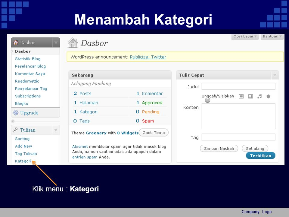 Menambah Kategori Company Logo Klik menu : Kategori