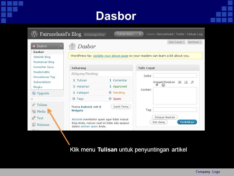 Dasbor Company Logo Klik menu Tulisan untuk penyuntingan artikel