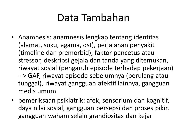 Data Tambahan Anamnesis: anamnesis lengkap tentang identitas (alamat, suku, agama, dst), perjalanan penyakit (timeline dan premorbid), faktor pencetus