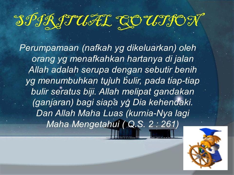 SPIRITUAL QOUTION Perumpamaan (nafkah yg dikeluarkan) oleh orang yg menafkahkan hartanya di jalan Allah adalah serupa dengan sebutir benih yg menumbuh