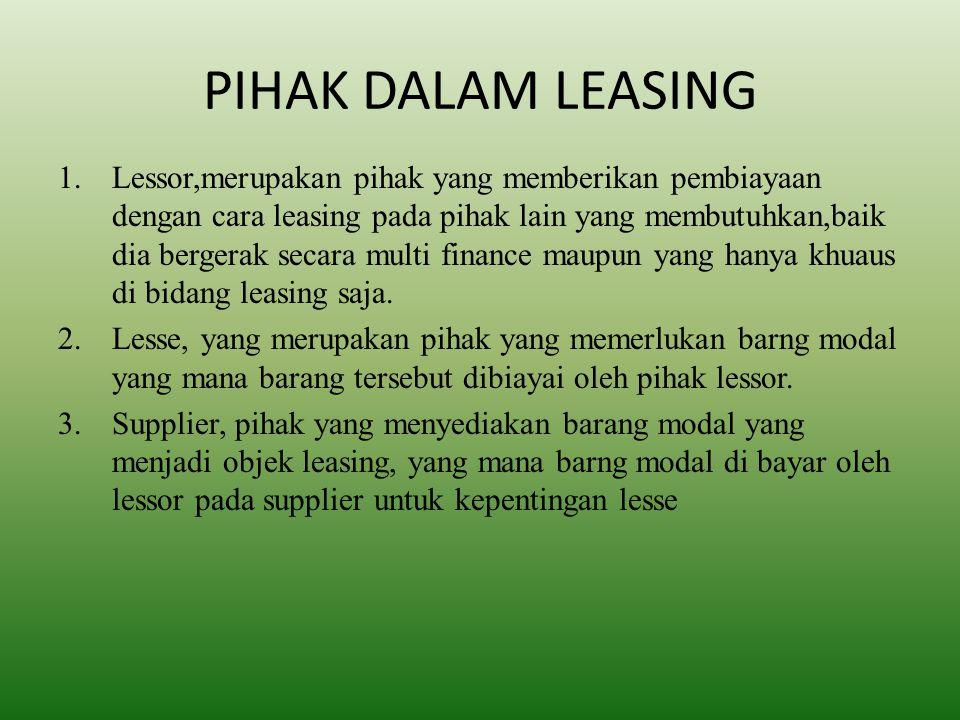 PIHAK DALAM LEASING 1.Lessor,merupakan pihak yang memberikan pembiayaan dengan cara leasing pada pihak lain yang membutuhkan,baik dia bergerak secara multi finance maupun yang hanya khuaus di bidang leasing saja.