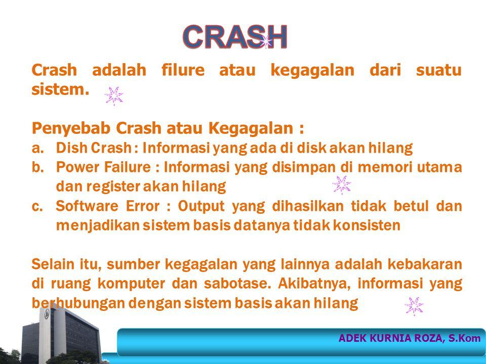 Crash adalah filure atau kegagalan dari suatu sistem. Penyebab Crash atau Kegagalan : a.Dish Crash : Informasi yang ada di disk akan hilang b.Power Fa