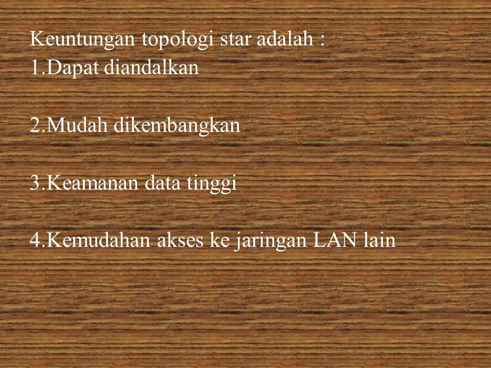 Keuntungan topologi star adalah : 1.Dapat diandalkan 2.Mudah dikembangkan 3.Keamanan data tinggi 4.Kemudahan akses ke jaringan LAN lain