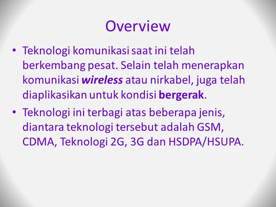 Overview Teknologi komunikasi saat ini telah berkembang pesat.
