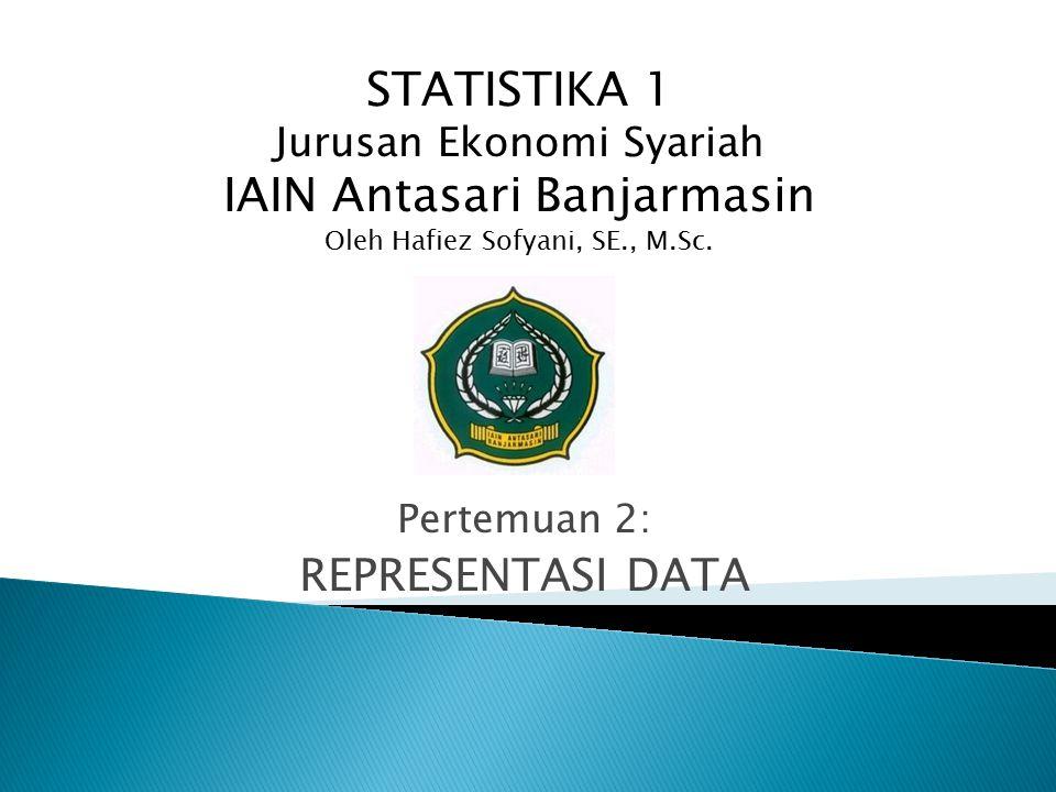 Pertemuan 2: REPRESENTASI DATA STATISTIKA 1 Jurusan Ekonomi Syariah IAIN Antasari Banjarmasin Oleh Hafiez Sofyani, SE., M.Sc.