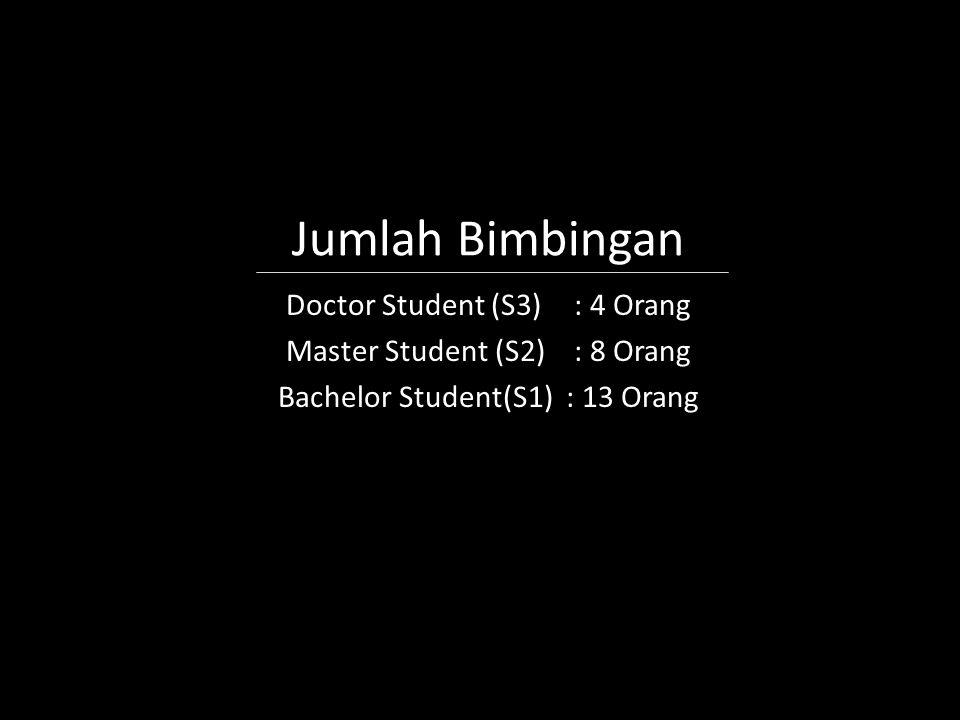 Jumlah Bimbingan Doctor Student (S3) : 4 Orang Master Student (S2): 8 Orang Bachelor Student(S1): 13 Orang