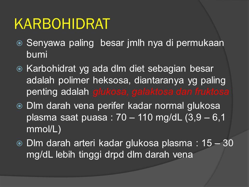 KARBOHIDRAT  Senyawa paling besar jmlh nya di permukaan bumi  Karbohidrat yg ada dlm diet sebagian besar adalah polimer heksosa, diantaranya yg pali