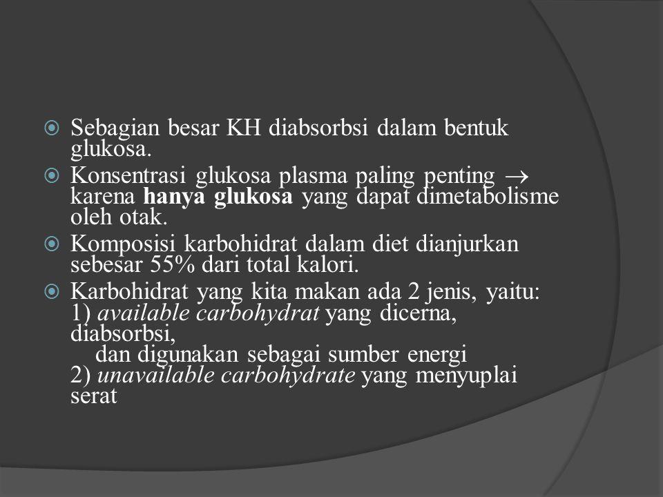  Sebagian besar KH diabsorbsi dalam bentuk glukosa.  Konsentrasi glukosa plasma paling penting  karena hanya glukosa yang dapat dimetabolisme oleh