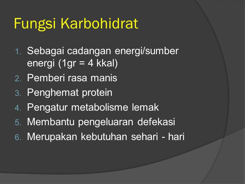 Fungsi Karbohidrat 1. Sebagai cadangan energi/sumber energi (1gr = 4 kkal) 2. Pemberi rasa manis 3. Penghemat protein 4. Pengatur metabolisme lemak 5.
