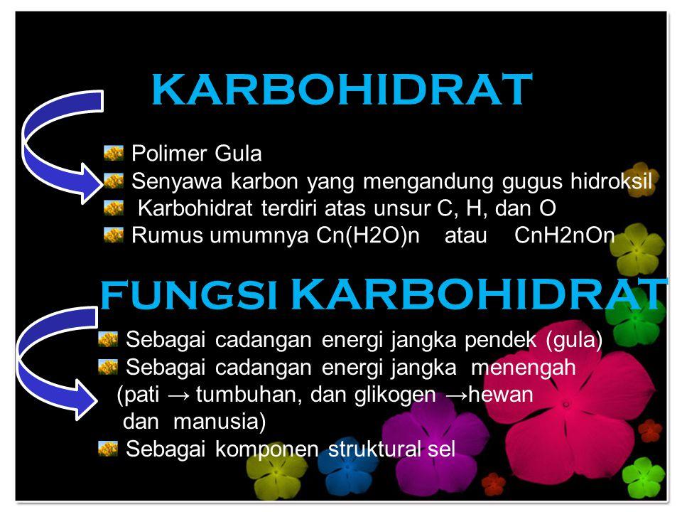KARBOHIDRAT Polimer Gula Senyawa karbon yang mengandung gugus hidroksil Karbohidrat terdiri atas unsur C, H, dan O Rumus umumnya Cn(H2O)n atau CnH2nOn