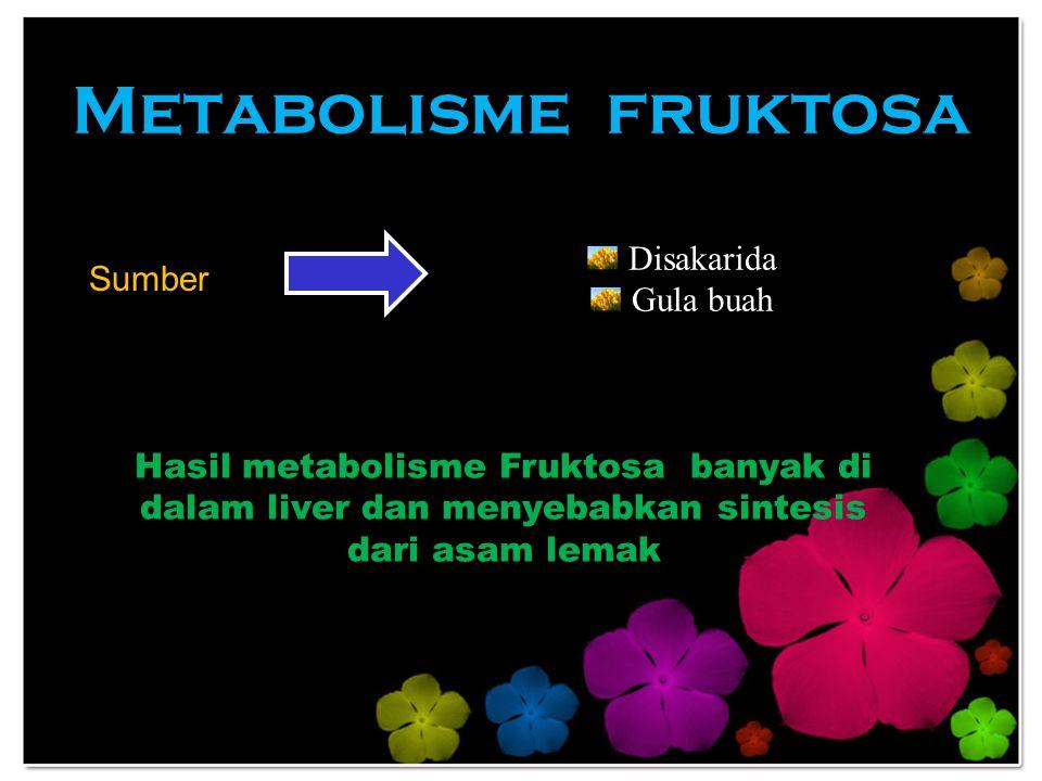 Metabolisme fruktosa Sumber Disakarida Gula buah Hasil metabolisme Fruktosa banyak di dalam liver dan menyebabkan sintesis dari asam lemak
