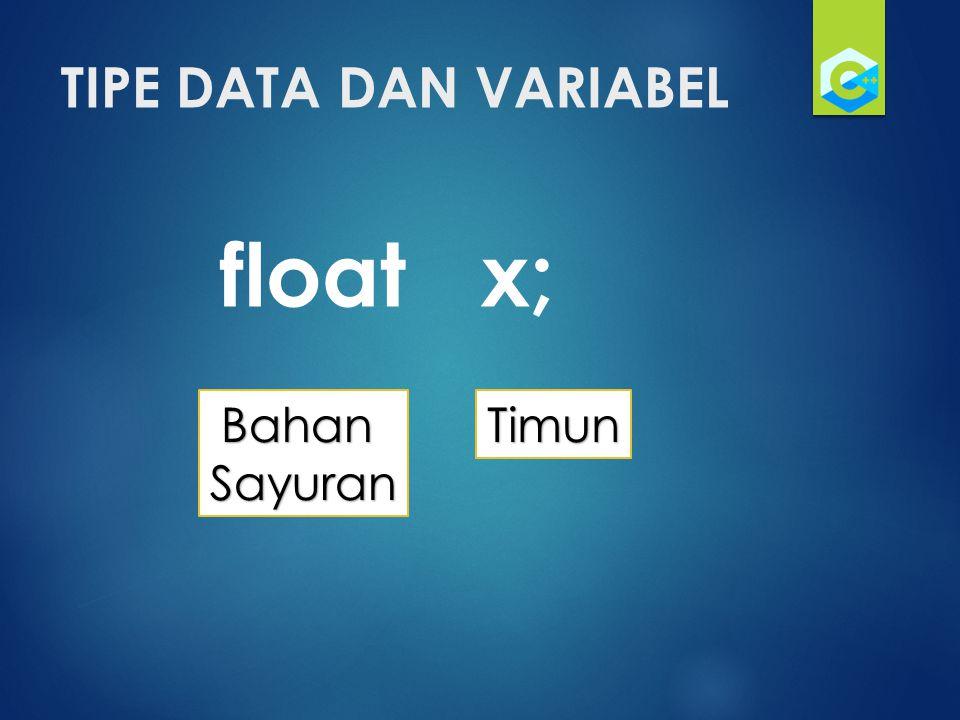 TIPE DATA DAN VARIABEL float x; TimunBahanSayuran