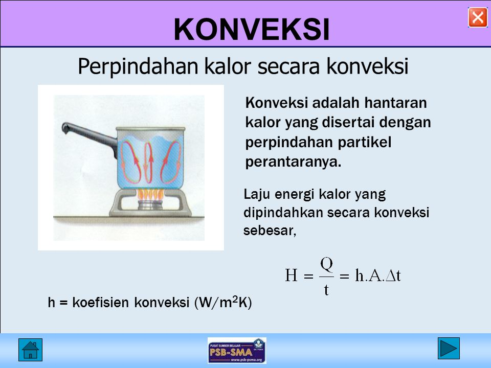 KONVEKSI Tabel konduktivitas termal zat (W/mK) Tabel konduktivitas termal zat (W/mK) Bahank Emas300 Besi80 Kaca0.9 Kayu0.1 – 0.2 Bahank Beton0.9 Air0.