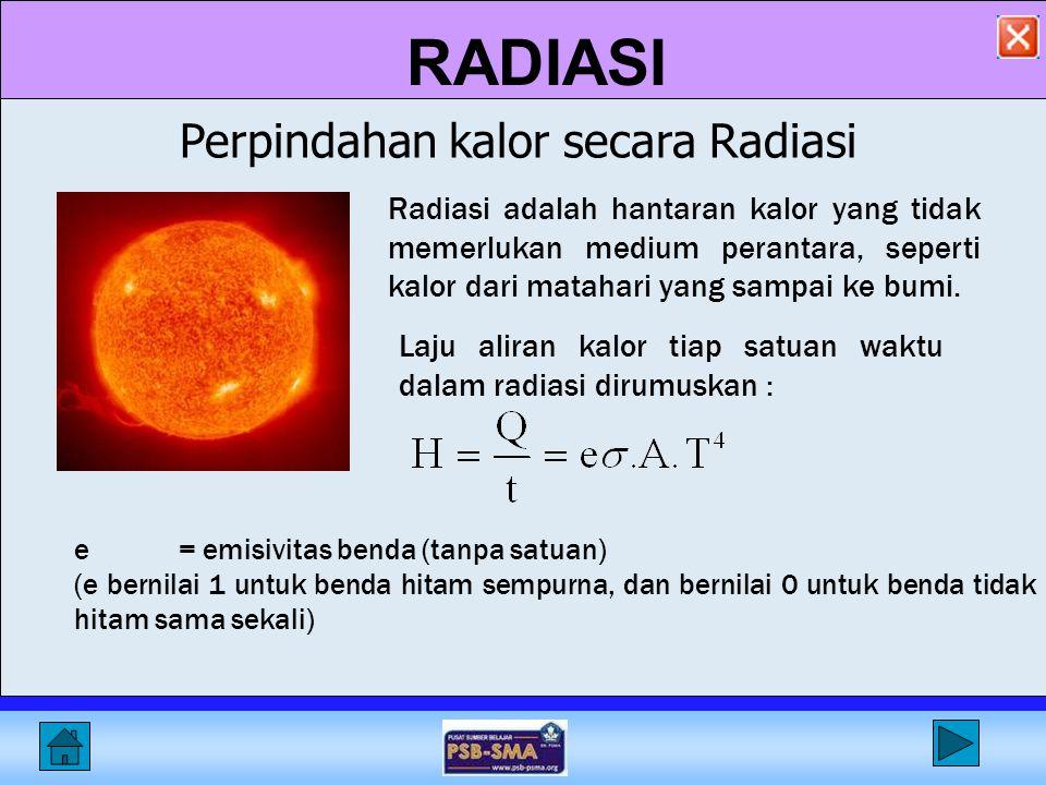 RADIASI Radiasi adalah hantaran kalor yang tidak memerlukan medium perantara, seperti kalor dari matahari yang sampai ke bumi.