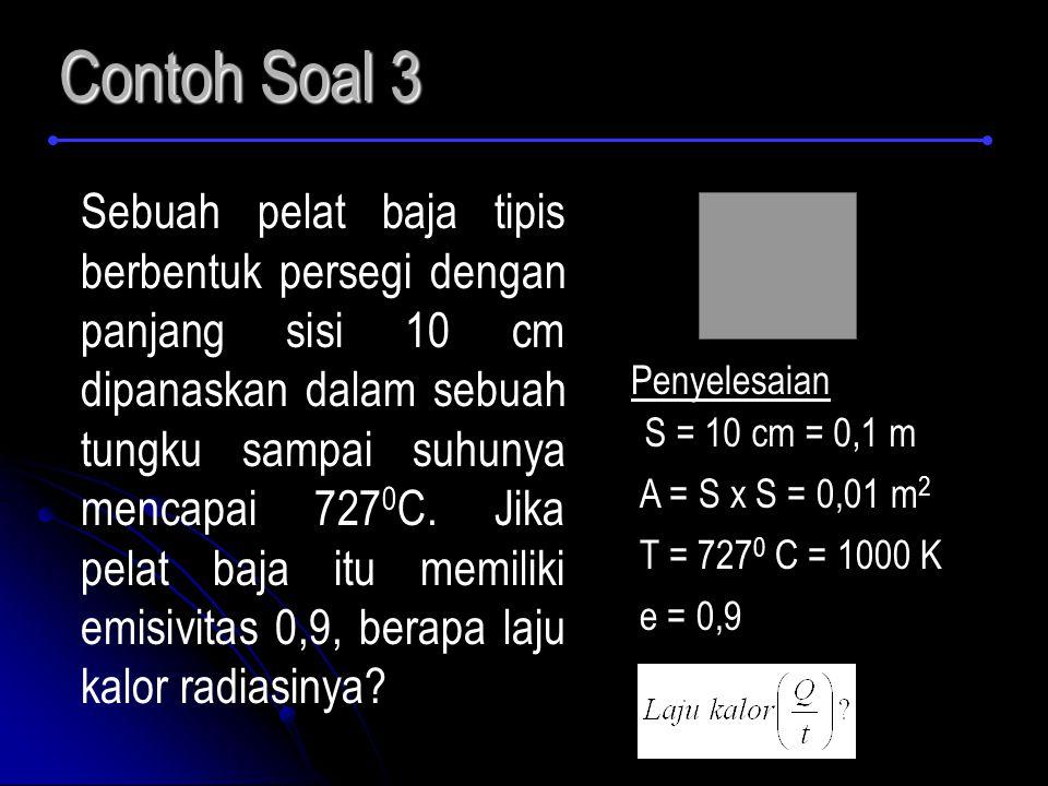 Contoh Soal 3 Sebuah pelat baja tipis berbentuk persegi dengan panjang sisi 10 cm dipanaskan dalam sebuah tungku sampai suhunya mencapai 727 0 C. Jika