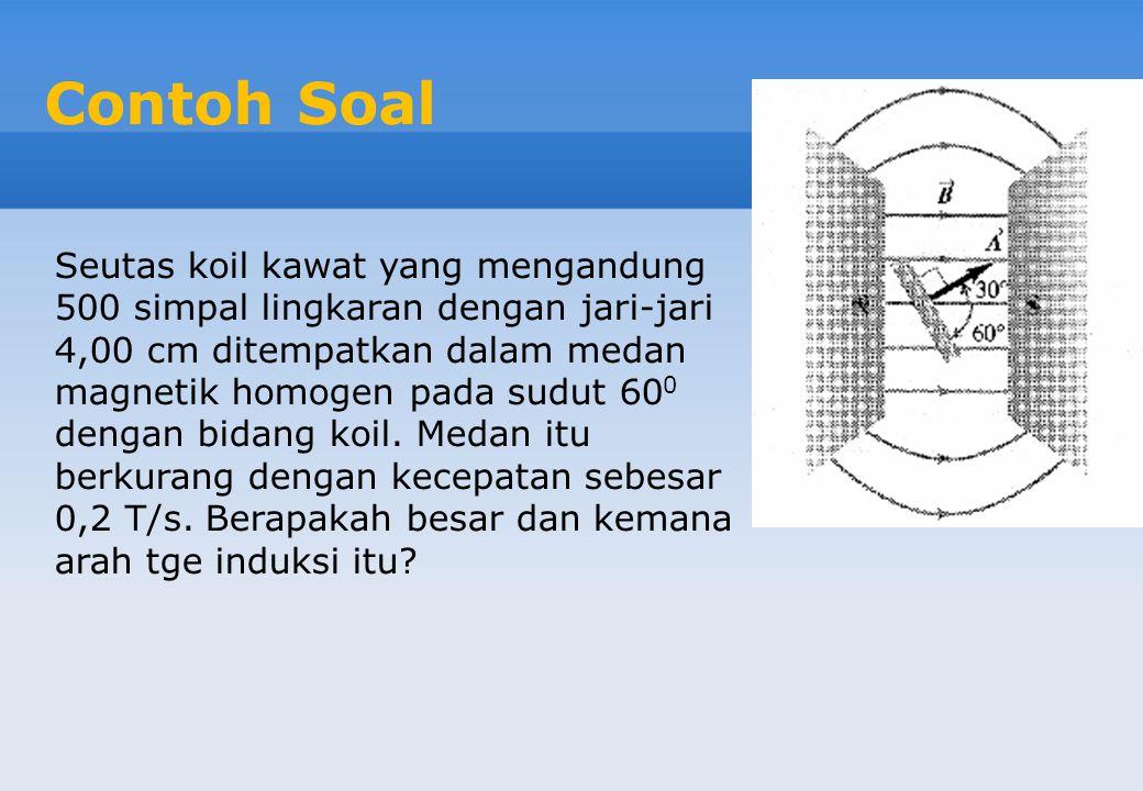 Contoh Soal Seutas koil kawat yang mengandung 500 simpal lingkaran dengan jari-jari 4,00 cm ditempatkan dalam medan magnetik homogen pada sudut 60 0 dengan bidang koil.