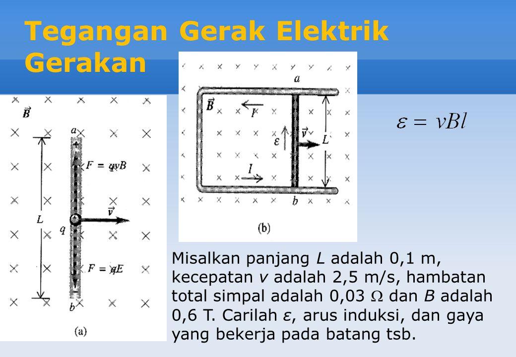 Tegangan Gerak Elektrik Gerakan Misalkan panjang L adalah 0,1 m, kecepatan v adalah 2,5 m/s, hambatan total simpal adalah 0,03  dan B adalah 0,6 T.