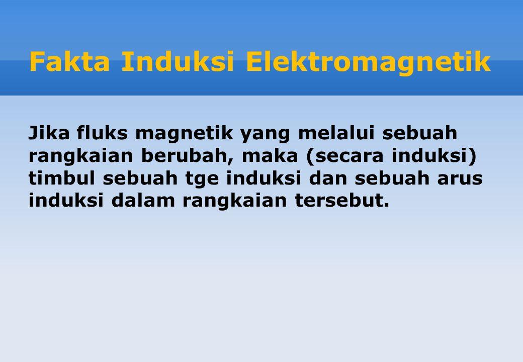 Fakta Induksi Elektromagnetik Jika fluks magnetik yang melalui sebuah rangkaian berubah, maka (secara induksi) timbul sebuah tge induksi dan sebuah arus induksi dalam rangkaian tersebut.