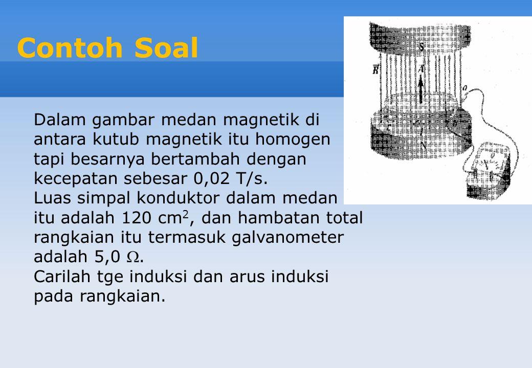 Contoh Soal Dalam gambar medan magnetik di antara kutub magnetik itu homogen tapi besarnya bertambah dengan kecepatan sebesar 0,02 T/s.