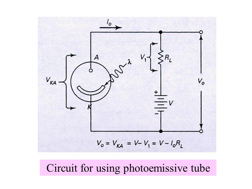 Circuit for using photoemissive tube