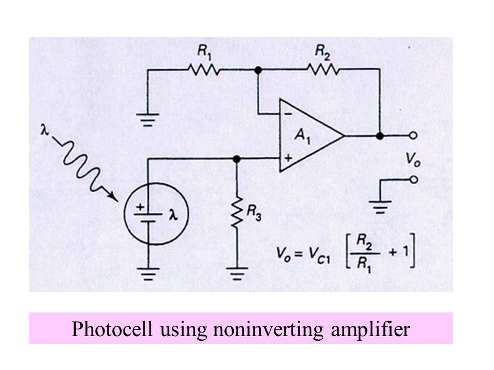 Photocell using noninverting amplifier