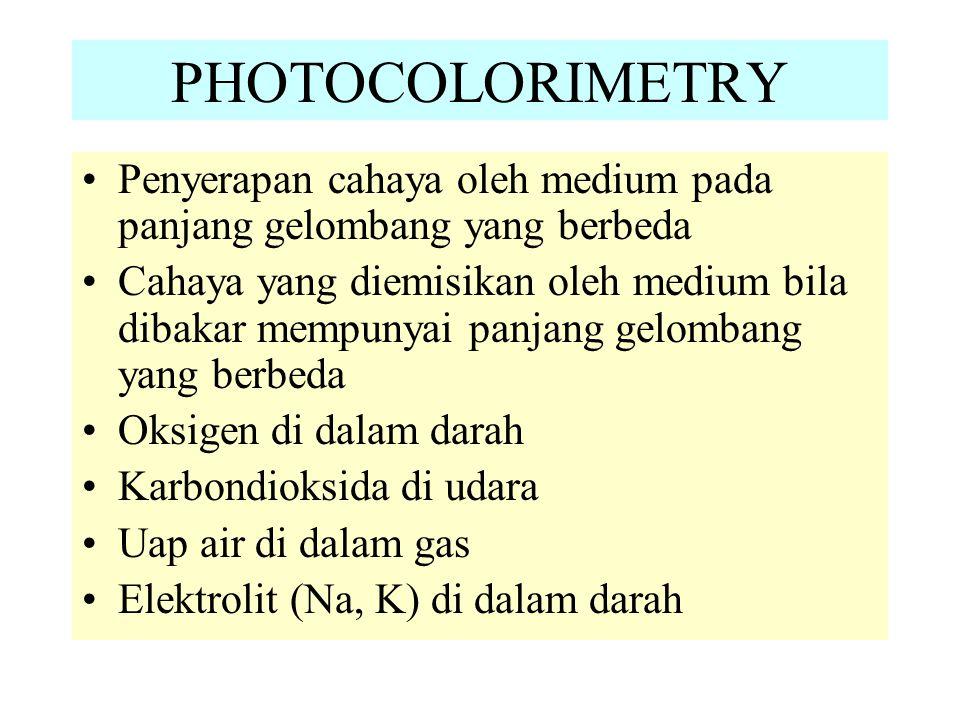 PHOTOCOLORIMETRY Penyerapan cahaya oleh medium pada panjang gelombang yang berbeda Cahaya yang diemisikan oleh medium bila dibakar mempunyai panjang gelombang yang berbeda Oksigen di dalam darah Karbondioksida di udara Uap air di dalam gas Elektrolit (Na, K) di dalam darah