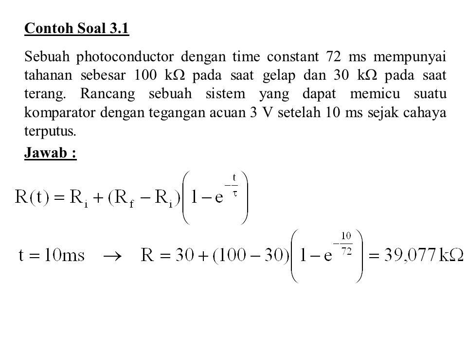 Contoh Soal 3.1 Sebuah photoconductor dengan time constant 72 ms mempunyai tahanan sebesar 100 k  pada saat gelap dan 30 k  pada saat terang.