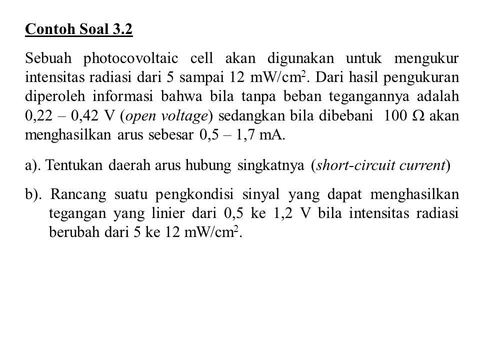 Contoh Soal 3.2 Sebuah photocovoltaic cell akan digunakan untuk mengukur intensitas radiasi dari 5 sampai 12 mW/cm 2. Dari hasil pengukuran diperoleh