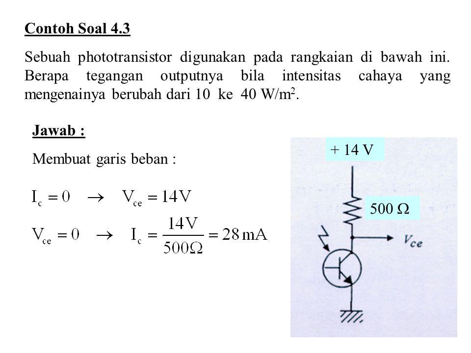 Contoh Soal 4.3 Sebuah phototransistor digunakan pada rangkaian di bawah ini. Berapa tegangan outputnya bila intensitas cahaya yang mengenainya beruba