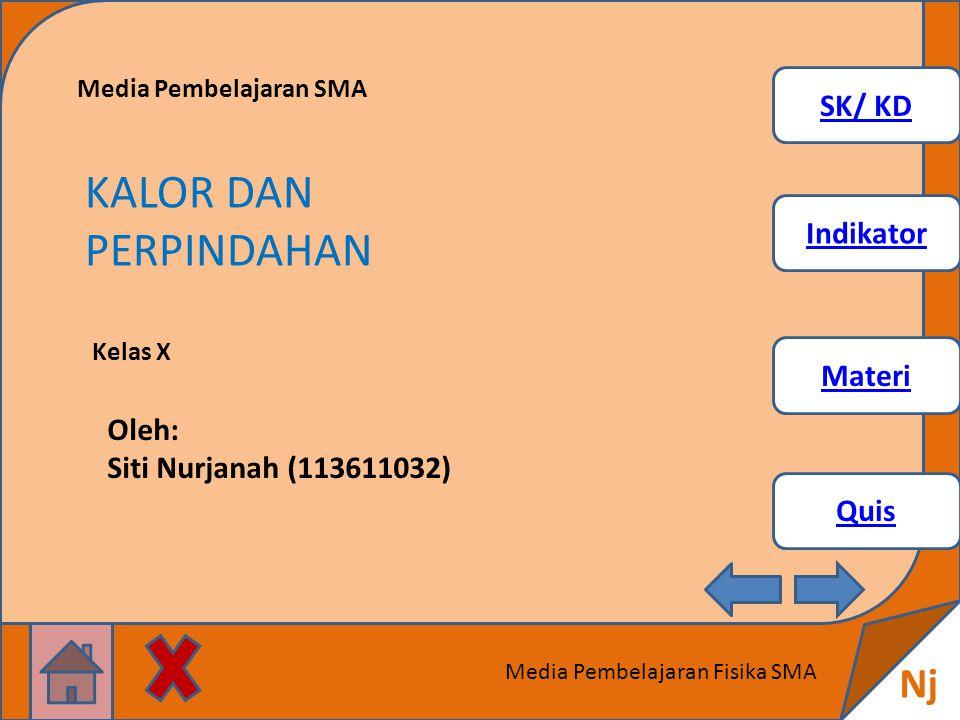 SK/ KD Indikator Materi Quis Nj Media Pembelajaran Fisika SMA Media Pembelajaran SMA KALOR DAN PERPINDAHAN Kelas X Oleh: Siti Nurjanah (113611032)