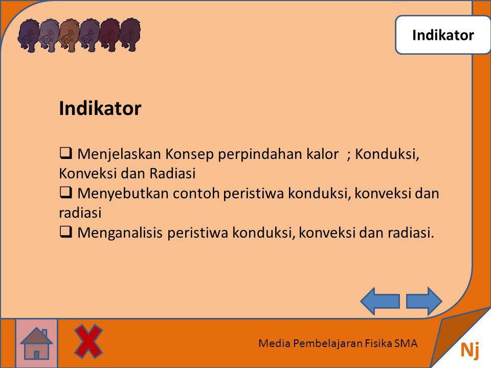 Indikator Nj Media Pembelajaran Fisika SMA Indikator  Menjelaskan Konsep perpindahan kalor ; Konduksi, Konveksi dan Radiasi  Menyebutkan contoh peristiwa konduksi, konveksi dan radiasi  Menganalisis peristiwa konduksi, konveksi dan radiasi.