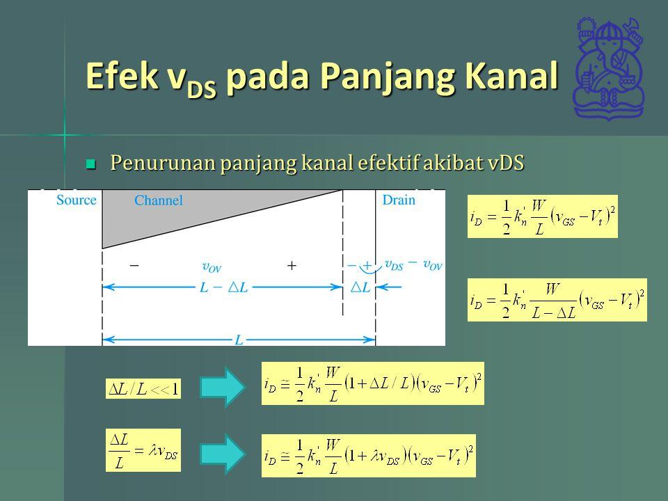Efek v DS pada Panjang Kanal Penurunan panjang kanal efektif akibat vDS Penurunan panjang kanal efektif akibat vDS