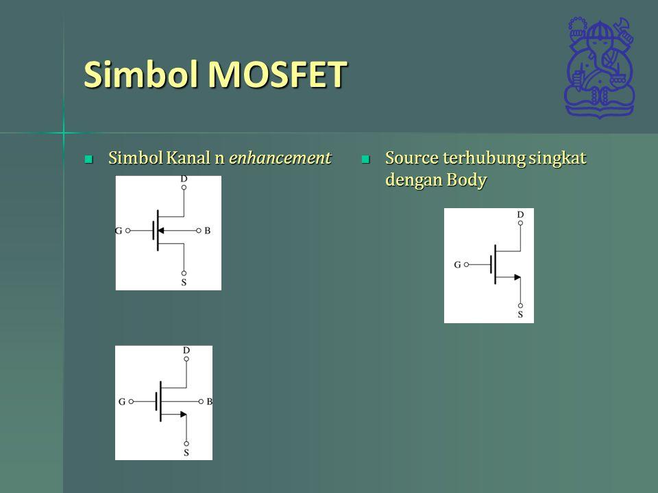 Simbol MOSFET Simbol Kanal n enhancement Simbol Kanal n enhancement Source terhubung singkat dengan Body Source terhubung singkat dengan Body