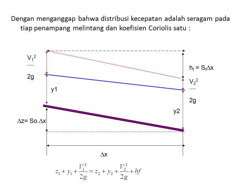 h f = S f  x xx y2 y1  z= So.  x V 2 2 ----- 2g V 1 2 ----- 2g Dengan menganggap bahwa distribusi kecepatan adalah seragam pada tiap penampang me