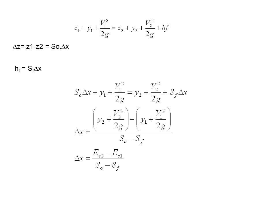  z= z1-z2 = So  x h f = S f  x