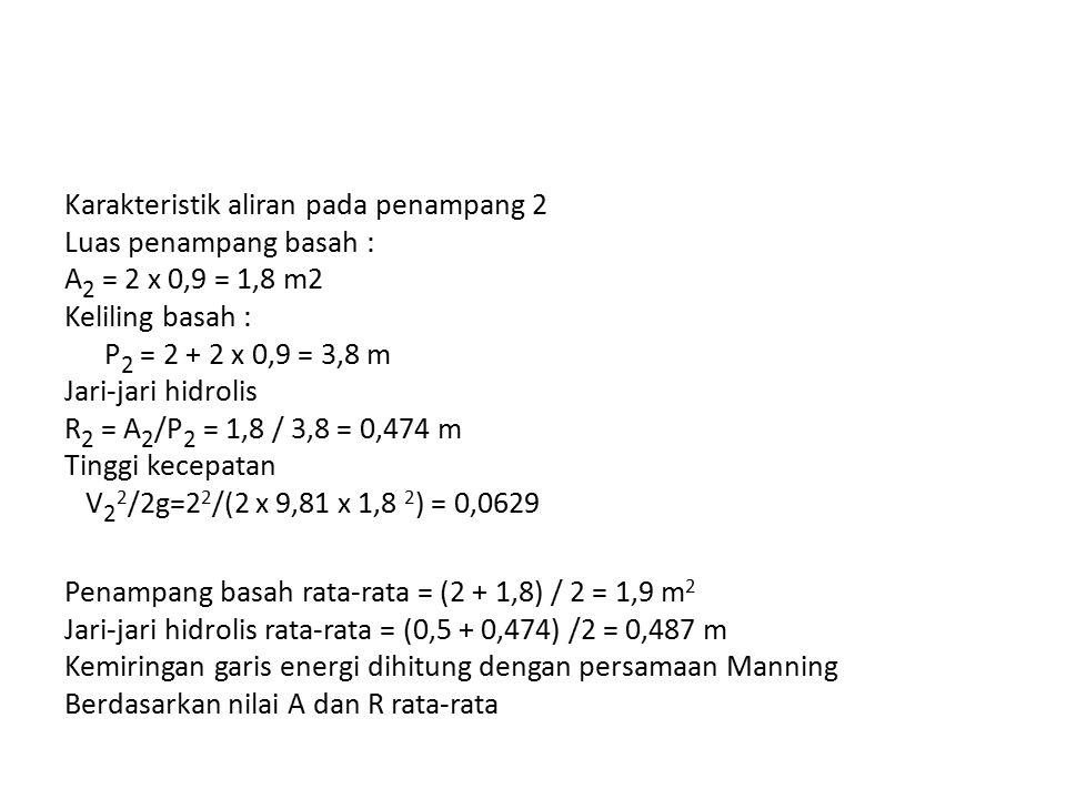 Karakteristik aliran pada penampang 2 Luas penampang basah : A 2 = 2 x 0,9 = 1,8 m2 Keliling basah : P 2 = 2 + 2 x 0,9 = 3,8 m Jari-jari hidrolis R 2