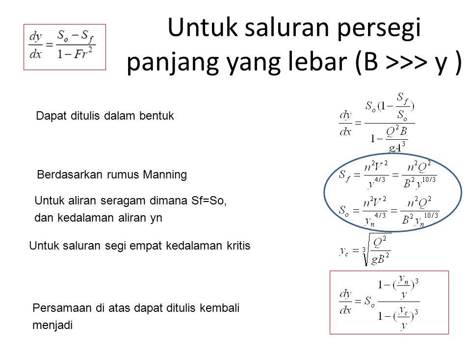 Untuk saluran persegi panjang yang lebar (B >>> y ) Untuk aliran seragam dimana Sf=So, dan kedalaman aliran yn Berdasarkan rumus Manning Untuk saluran