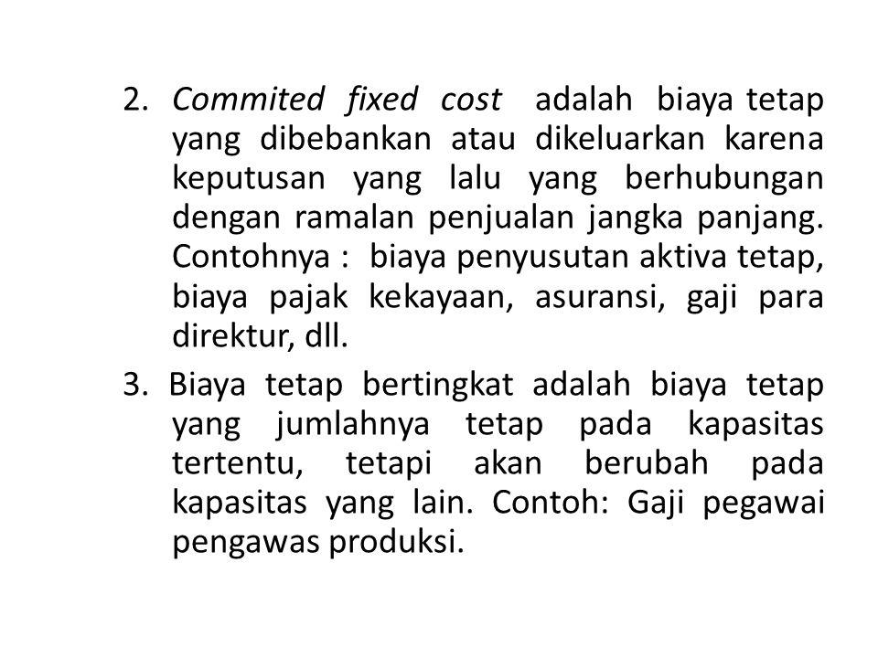 2. Commited fixed cost adalah biaya tetap yang dibebankan atau dikeluarkan karena keputusan yang lalu yang berhubungan dengan ramalan penjualan jangka