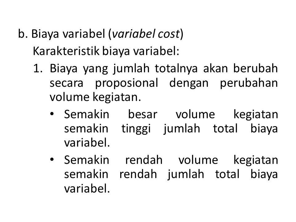 b. Biaya variabel (variabel cost) Karakteristik biaya variabel: 1.Biaya yang jumlah totalnya akan berubah secara proposional dengan perubahan volume k