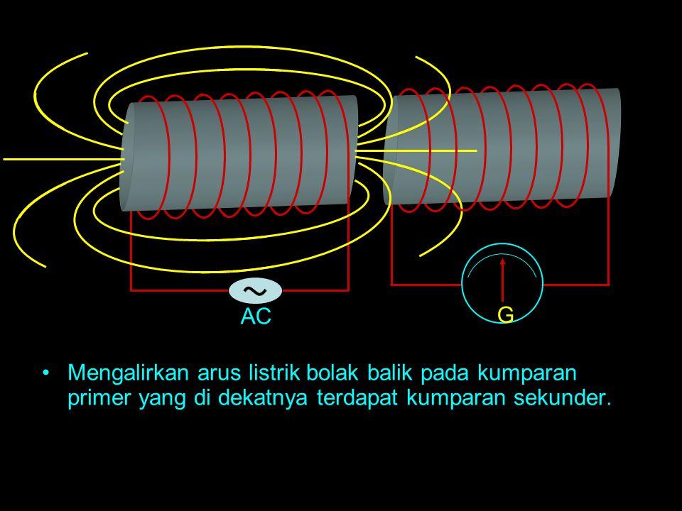 AC Mengalirkan arus listrik bolak balik pada kumparan primer yang di dekatnya terdapat kumparan sekunder. G